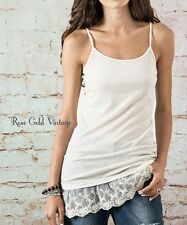 NWT Boutique Umgee Lace Extender Tank Top - Oatmeal Gray Black S, M, L, XL 1X 2X