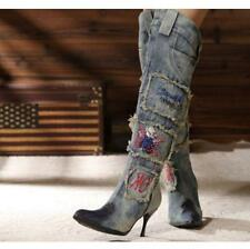 Fashion Womens Denim Thigh Pointy Toe Stiletto Over The Knee High Boots Shoes SZ
