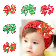 New Christmas Children Girl Baby Toddler Boutique Bow Ribbon Hair Clips Hairband