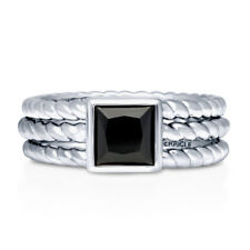 BERRICLE Sterling Silver Princess Black CZ Cable Solitaire Ring Set 1.24 Carat