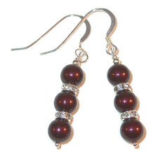 MAROON Pearl Earrings Swarovski Crystal Elements Sterling Silver Dangle
