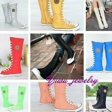 EMO Gothic PUNK Women Rock Boot Girls Shoes Sneaker Knee High Zip Laces Up YZ