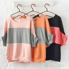Women's Soft Bat Short Sleeve Loose Casual T-Shirt Blouse Tank Top Shirt Little