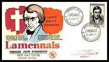 France Lamennais 1957 Thermographed First Day Cover FDC
