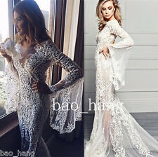 Mermaid Wedding Dress V Neck Wing Sleeve Sexy Sheer Lace Bridal Gown White Ivory
