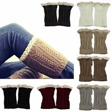 Womens Toppers Boot Socks Fashion Lace Trim Cuffs Crochet Knitted Leg Warmers