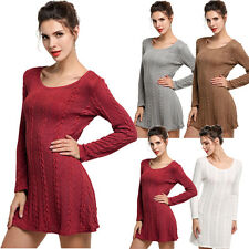 Women's Crewneck Long Sleeve Sweater Jumper Slim Casual Knitted Party Mini Dress