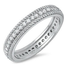 Sterling Silver 925 CZ Vintage Antique Women's Eternity Wedding Band Ring S 5-10