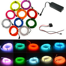 1M-5M Flexible EL Wire Tube Rope Neon Light Glow Controller Car Party Decor