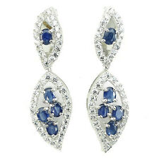 GORGEOUS NATURAL TOP RICH BLUE SAPPHIRE & WHITE CZ STERLING 925 SILVER EARRINGS