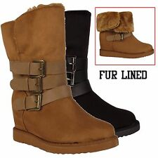 GIRLS FUR LINED BOOTS KIDS SHOES WINTER SNOW WARM MID CALF BUCKLE WEDGE BOOT