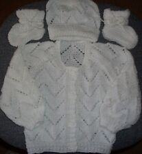 SZ 000 WHITE 3 pce BABY SET hand knitted ALL NEW