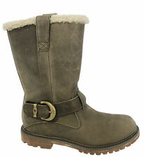 Timberland Nellie Pull On Boots Womens Girls Leather Grey Slip on (8718R U127)