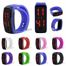Womens Mens Waterproof Digital LED Watches Sports Silicone Bracelet Wrist Watch