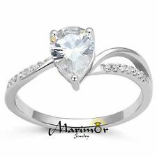 Women's .75 Ct Pear Cut Cz .925 Sterling Silver Rhodium Plated Engagement Ring