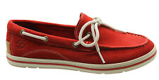 Timberland Classic 2 Eye Womens Boat Shoe Red Nubuck Leather Lace Up 3952R U14
