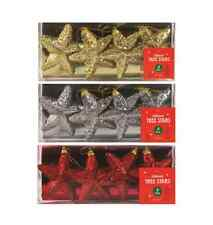 Christmas Glitter Tree Stars Hanging Shatterproof Baubles Decorations 4 PACK