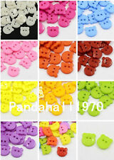 100X 2-Hole Acrylic Sewing Cute Bear Head Plastic Animal Buttons X-BUTT-E064-DSX