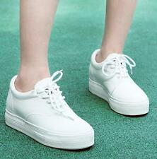 Womens Lady White Platform Sneakers New Lace Up Canvas Board Flats Shoes Creeper