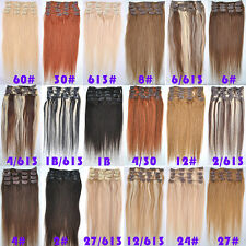 15''-28'' 70g 120g Full Head Remy Human Clip In Hair Extensions Hairpiece Lot