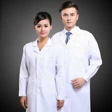 Mens Womens White Lab Coat Scrub Medical Doctor's Jacket New