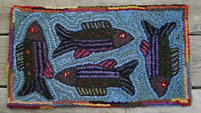 FISHING FOR COMPLIMENTS Primitive Rug Hooking Kit with #8 cut  wool strips