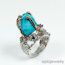 Fine art Jewel Natural Turquoise 925 Sterling Silver Ring Size 8.25/R72446