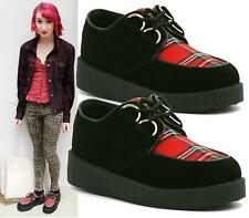 WOMENS FLAT PLATFORM WEDGE TARTAN LACE UP GOTH PUNK CREEPERS SHOES BOOTS SIZE