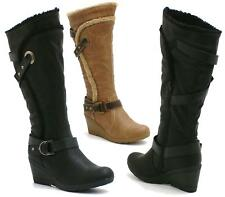 Ladies Black Leather Style Medium Flat Wedge Knee High Calf Biker Boots Shoes