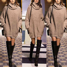 Womens Turtleneck Long Sleeve Knitted Loose Sweater Cardigan Outwear Party Dress