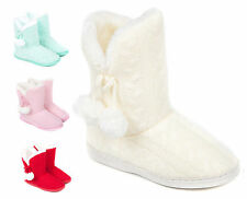 Ladies Bootie Pompoms Slippers Size 3 to 8 UK - WARM FUR LINED BOOTS /  LB-07