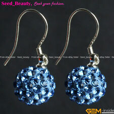 Womens 10mm Pave Beads Disco Ball Beads Clay Dangle Earrings Rhinestones Eardrop
