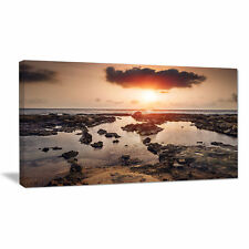 Design Art Rocky Coastline Sunset Africa Photographic Print on Wrapped Canvas