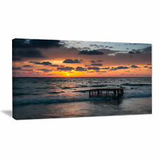 Design Art Tropical Beach with Empty Cage Photographic Print on Wrapped Canvas