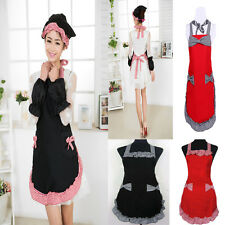 New Cute Lovely Kitchen Women Bowknot Bib Chic Flirty Apron Dress Cooking Apron