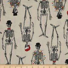 Mr. Chillingsworth Christmas Skeletons With Lights Fabric Premium Quilt Cotton