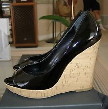 MICHAEL BEAUTIFUL BLACK PATENT LEATHER TIMOR PEEP TOE CORK WEDGE HEELS SIZE 6 M