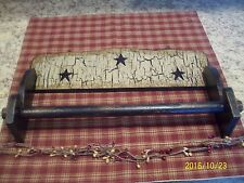 PRIMITIVE CRACKLE BLACK STAR WALL HANGING PAPER TOWEL HOLDER COUNTRY FARMHOUSE