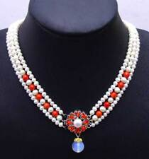 """6-7mm White Round Natural FW pearl & red coral 3 strands 18-19"""" necklace-nec6080"""