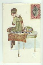 su2412 - Young Woman sits on a table - artist Jan Tam - postcard