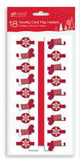 Novelty Card Holder Pegs Various Designs With 2m Ribbon Display Xmas Cards New