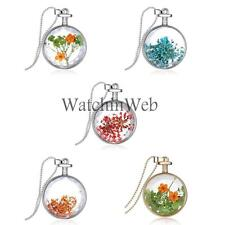 Hot Mixed Dried Flower Clear Glass Locket Pendant Necklace Silver Chain