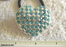1 NEW SILVER TONE METAL HEART / MULTICOLOR STONE ON ELASTIC HAIR TIE PONYTAIL