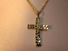 14 KT GOLD EP NUGGET STYLE CROSS CHARM PENDANT WITH A ROPE CHAIN -2042