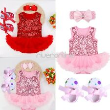 3PCS Baby Girls Infant Outfit Dress Set Romper Headband Shoes Princess Wedding