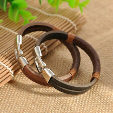 Mens Surfer Vintage Hemp Wrap Leather Bangle Bracelet Handmade Cuff Wristband