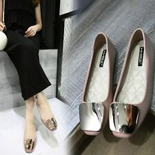 Casual Flats Heel Women Shoes Metal Buckle New PU Comfortable Soft Loafers Pumps