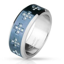 Stainless Steel Blue 0.55 Carat CZ Cross Eternity Band Ring Size 8-12