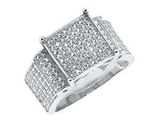 White Gold Finish Pave Simulated Diamond Square Top Engagement Wedding Ring