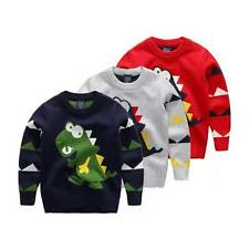 Winter Baby Boy Kids Knitted Dinosaur Sweater Pullover Tops Clothes Cardigan New